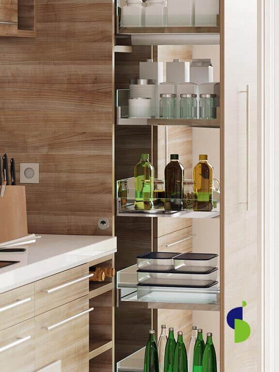 Alacena extraíble 5 canastillas, acabado vidrio-madera con sistema cierre suave