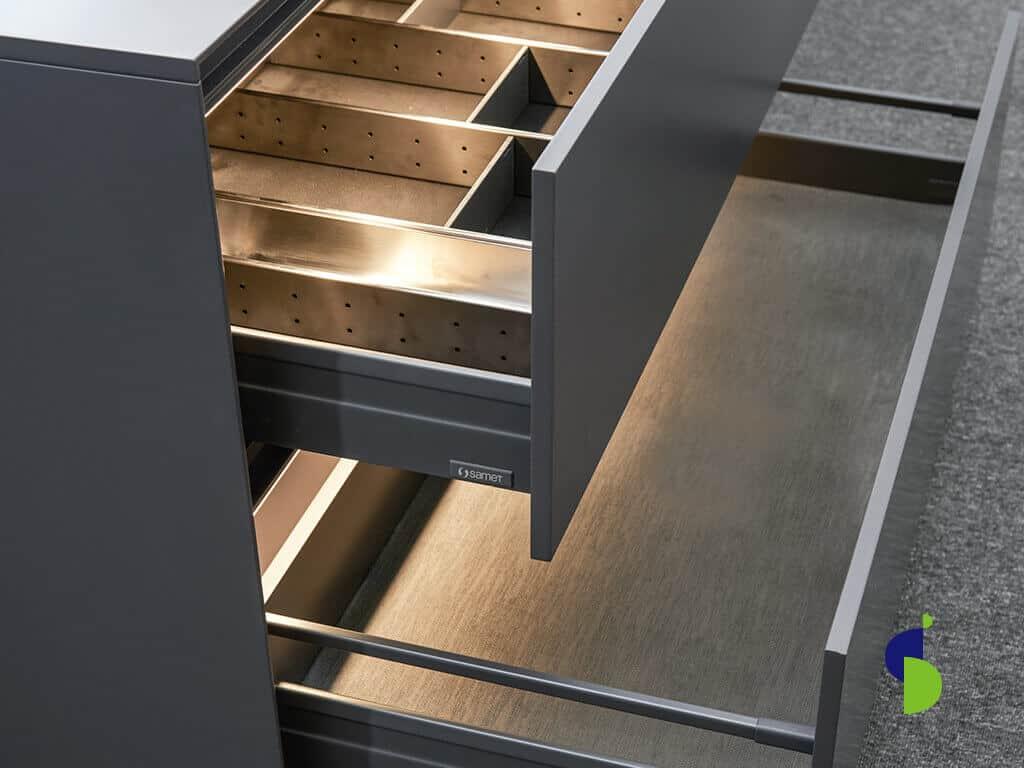 Cajon pando y alto línea Alphabox color antracita, organizador de cubiertos en acero Inox.