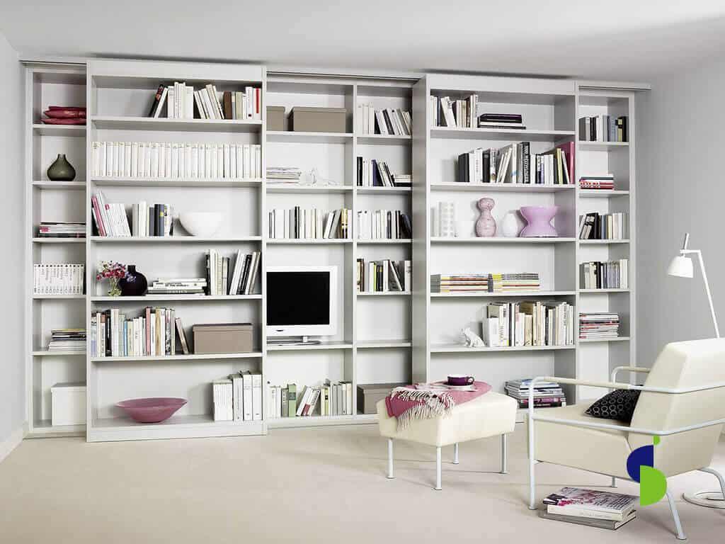 Sistema corredizo guías superiores e inferiores closet-biblioteca