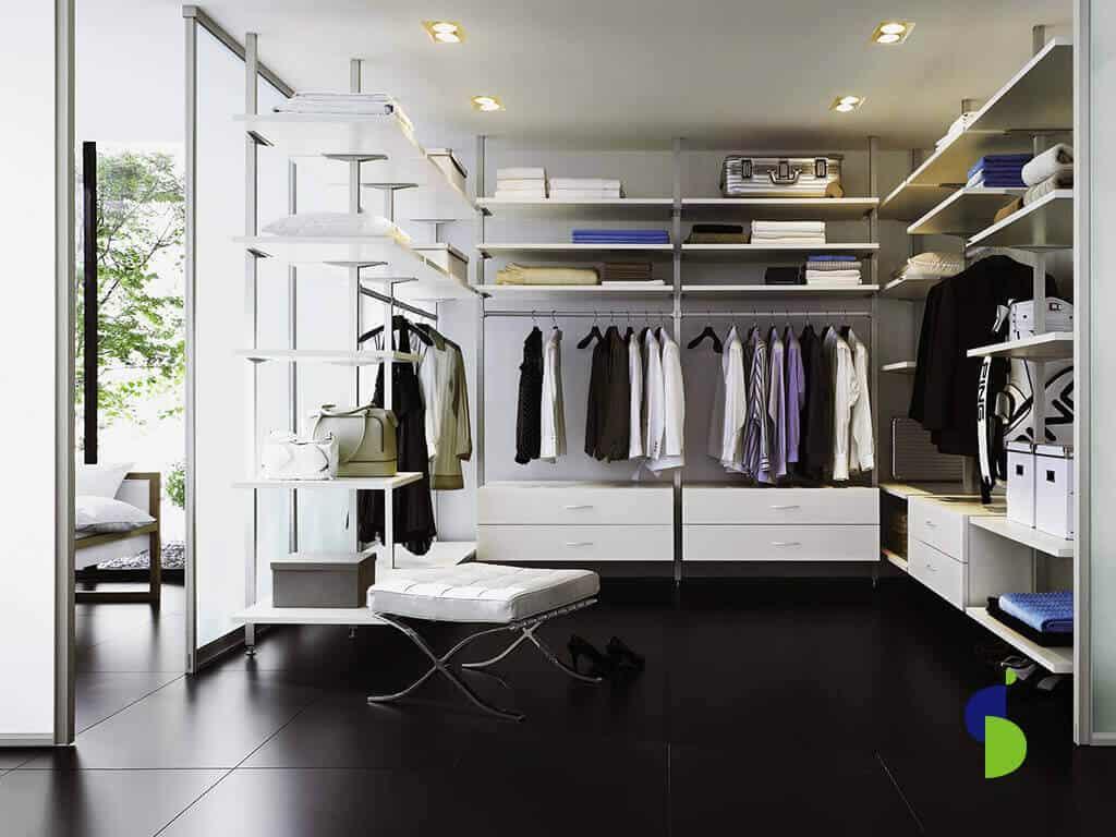Perfilería para vestier o walk in closet acabado Aluminio.