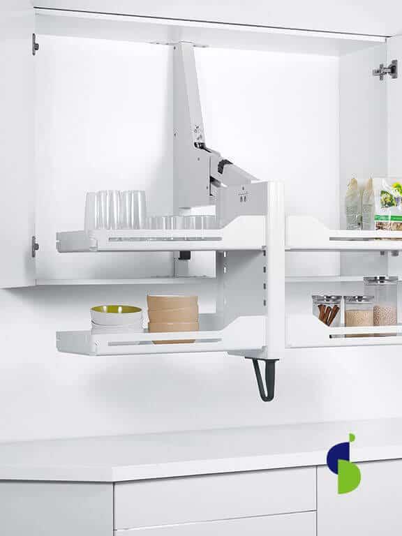 Porta vasos y platos referencia pegasus, con sistema de elevación manual o electrónica.