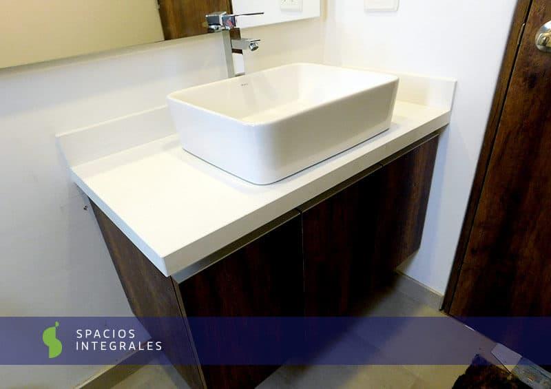 Mueble de ba o en melam nico con manija de aluminio y lavamanos de sobreponer - Muebles de bano de aluminio ...
