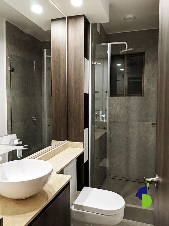 Mueble de baño elegante y lujoso en melamina con lavamanos de sobreponer